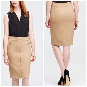 NWT Ann Taylor Refined Zip Pencil Skirt Tan Sz 6